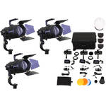 Intellytech Pocket Cannon Daylight Focusable 3-Light LED Fresnel Kit (V-Mount / NP-F)