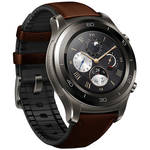 Huawei Watch 2 Classic Smartwatch (Titanium Gray, Brown Hybrid Strap)