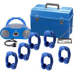 HamiltonBuhl Flex-PhonesAF 6 Person Wireless Listening Center and AudioAce Boombox with Case (Blue)