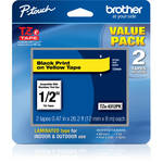"Brother TZe631 Laminated Tape for P-Touch Labelers (Black on Yellow, 0.47"" x 26.2', 2-Pack)"