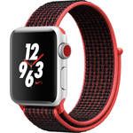 Apple Watch Nike+ Series 3 38mm Smartwatch (GPS + Cellular, Silver Aluminum Case, Bright Crimson/Black Nike Sport Loop)