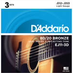 D'Addario EJ11-3D Light 80/20 Bronze Acoustic Guitar Strings (6-String Set, 12 - 53, 3-Pack)