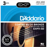 D'Addario EXP11 Light Coated 80/20 Bronze Acoustic Guitar Strings (6-String Set, 12 - 53, 3-Pack)