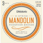 D'Addario EJ74-3D Medium Phosphor Bronze Mandolin Strings (8-String Set, Loop End, 11 - 40, 3-Pack)
