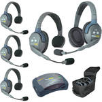 Eartec Ultralite  Hub 5 Person System with 4 Single, 1 Double Headsets, Batteries, Charger & Case