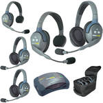 Eartec Ultralite  Hub 5 Person System with 2 Single, 3 Double Headsets, Batteries , Charger & Case