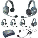 Eartec Ultralite  Hub 7 Person System with 4 Single, 2 Double, 1 Cyber Headsets, Batteries, Charger & Case