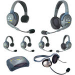 Eartec Ultralite  Hub 7 Person System with 4-Single, 2 Double, 1 Monarch Headsets, Batteries, Charger+Case