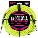 "Ernie Ball 1/4"" Straight to 1/4"" Right-Angle Braided Instrument Cable (25', Neon-Yellow)"