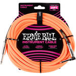 "Ernie Ball 1/4"" Straight to 1/4"" Right-Angle Braided Instrument Cable (25', Neon-Orange)"