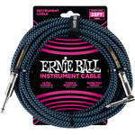 "Ernie Ball 1/4"" Straight to 1/4"" Right-Angle Braided Instrument Cable (25', Black/Blue)"