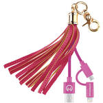 HyperGear Hybrid Charging Cable Tassel Keychain (Pink)