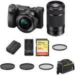 Sony a6500 Mirrorless Digital Camera with 16-50mm and 55-210mm Lenses Premium Kit