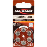 Ansmann Type 312 Hearing Aid Batteries (1.45V, 6-Pack)