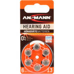 Ansmann Type 13 Hearing Aid Batteries (1.45V, 6-Pack)