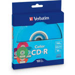 Verbatim 700MB CD-R 52x Disks with Color Branded Surface (10-Pack, Assorted Colors)