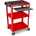 "Luxor 42"" Adjustable Height Table Electric with Keyboard Tray (Red)"