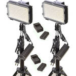 Bescor XT160 Bi-Color LED On-Camera 2-Light Kit with Stands and Batteries