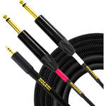 "Mogami Stereo 3.5mm TRS Male to Dual Mono 1/4"" TS Male Y-Cable (3')"