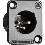 Switchcraft DE Series 3-Pin XLR Male Panel Mount Connector (Black Finish, Silver Contacts)