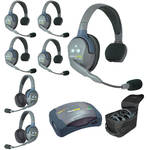 Eartec Ultralite  Hub 7 Person System with 5 Single and 2 Double Headsets, with Batteries, Charger and Case