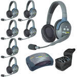 Eartec Ultralite  Hub 7 Person System with 7 Double Headsets, with Batteries, Charger and Case