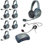 Eartec Ultralite  Hub 9 Person System with 8 Double, 1 Cyber Headset, and Batteries, Charger and Case