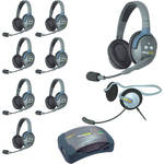 Eartec Ultralite  Hub 9 Person System with 8 Double ,1 Monarch Headset, and Batteries, Charger and Case