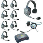 Eartec Ultralite  Hub 9 Person System with 8 Single, 1 Monarch Headset, and Batteries, Charger and Case