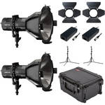 HIVE LIGHTING Hornet 200-C PAR Spot LED 2-Light Kit with Hard Rolling Case & Padded Dividers