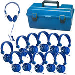 HamiltonBuhl Lab Pack of Favoritz Student Headphones with In-Line Microphones (Set of 12, Blue)