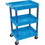 "Luxor STC111 24 x 18"" Three Shelf Heavy-duty Utility Cart (Blue)"