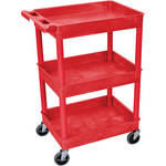 "Luxor STC111 24 x 18"" Three Shelf Heavy-duty Utility Cart (Red)"