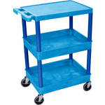 "Luxor STC211 24 x 18"" Three Shelf Heavy-duty Utility Cart (Blue)"