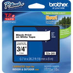 "Brother TZe241 3/4"" Black Print On White Tape (26.2'/8.0 m)"