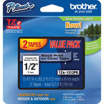 "Brother TZe131 2-Pack 1/2"" Black Print On Clear Tape (26.2'/8.0 m)"