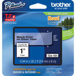 "Brother TZe151 1.0"" Black Print On Clear Tape (26.2'/8.0 m)"