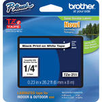 "Brother TZe211 1/4"" Black Print On White Tape (26.2'/8.0 m)"