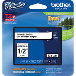 "Brother TZe231 1/2"" Black Print On White Tape (26.2'/8.0 m)"