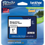 "Brother TZe251 1.0"" Black Print On White Tape (26.2'/8.0 m)"