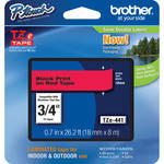 "Brother TZe441 3/4"" Black Print On Red Tape (26.2'/8.0 m)"