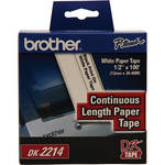 "Brother DK2214 0.47"" Black Print On White Tape (100'/30.4 m)"