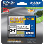 "Brother TZeS241 3/4"" Black Print On White Tape With Extra-Strength Adhesive (26.2'/8.0 m)"