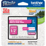 "Brother TZeMQP35 1/2"" White Print On Berry Pink Laminated Tape (16.4'/5.0 m)"