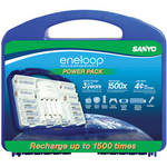 Sanyo eneloop Power Pack Starter Kit in Blue Case: 2nd Generation