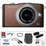 Olympus E-PM1 Mirrorless Micro Four Thirds Digital Camera Kit with 14-42mm f/3.5 - 5.6 II Lens and Basic Accessories (Brown)