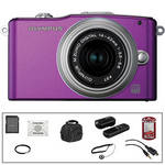 Olympus E-PM1 Mirrorless Micro Four Thirds Digital Camera Kit with 14-42mm f/3.5 - 5.6 II Lens and Basic Accessories (Purple)