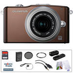 Olympus E-PM1 Mirrorless Micro Four Thirds Digital Camera Kit with 14-42mm f/3.5 - 5.6 II Lens and Deluxe Accessories (Brown)