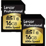 Lexar 16GB SDHC Memory Card Professional Class 10 UHS-I (2 Pack)