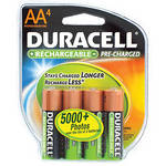 Duracell AA NiMH Pre-Charged Rechargeable Stay-Charge Batteries (2000mAh, 4 Pack)